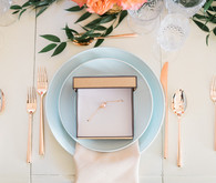 Modern blue and gold tablescape