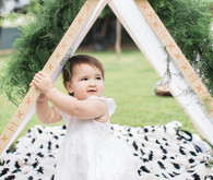 modern camp themed 1st birthday