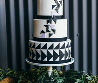 Modern black and white cake
