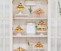 Dessert table in vintage cabinet