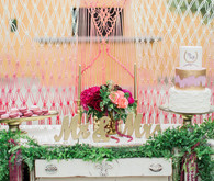 Macrame dessert bar backdrop