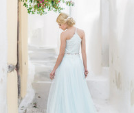Pale blue wedding dress