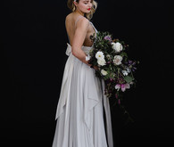 Pale grey bridal gown