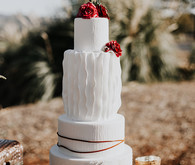 White bohemian wedding cake