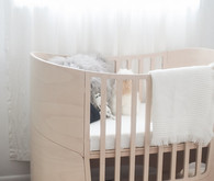 white and wood bohemian modern nursery
