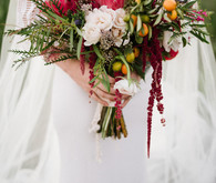 Protea and peony bridal bouquet