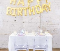 Gold mylar birthday balloons