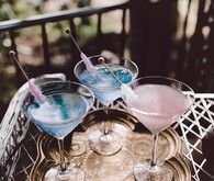 Pink and blue cocktails