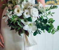 organic, white bridal bouquet