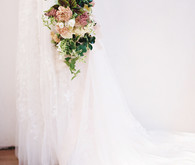 Romantic, blush wedding dress from David's Bridal