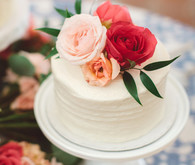 Mini white wedding cake