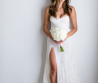 wedding dress with high slit