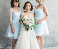 bride and maids in blue