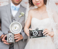wedding portraits with vintage cameras