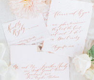 white and blush wedding invitations