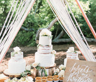 copper and rope dessert table tent