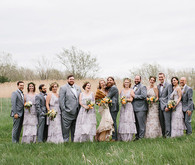 Wintery rustic wedding party portraits