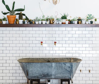 subway tile and vintage tub