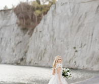 romantic beach bridal shoot