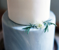 Modern blue and white marbled cake