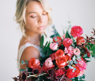 Red and pink bridal bouquet