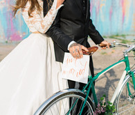 Wedding portraits with bicycle