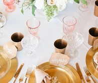 Pink and gold place settings