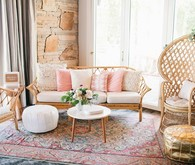 Pink and gold boho lounge