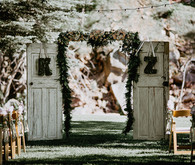 Wood door ceremony backdrop