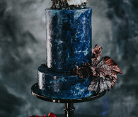 Deep blue wedding cake