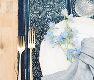 Fall boho baby shower - indigo table runner