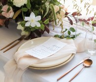 Modern white and copper tablescape