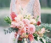 Pink dahlia bridal bouquet