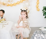 modern gold and white kids new years eve party
