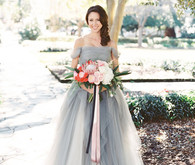 Blue grey wedding dress