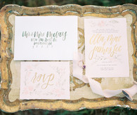 Pink wedding invitation suite