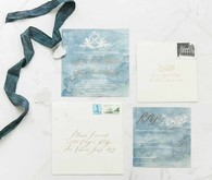 Indigo wedding invitation suite