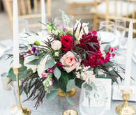 Red + gold wedding reception