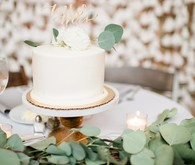 Green + white wedding cake