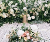Green and white floral arrangement
