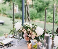Grey and gold tablescape