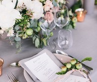 Grey and gold place setting
