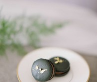 Black and gold macarons