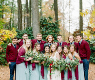 Winter wedding party portrait