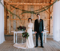 Modern barn winter wedding inspiration