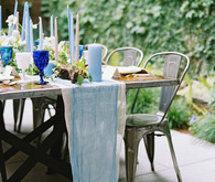 Blue and pink tablescape