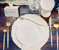 Cream and gold place setting