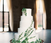 Green and white wedding cake