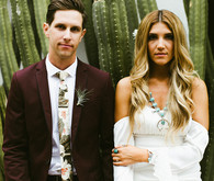 Boho bride and groom