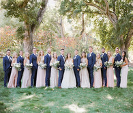 Pink and blue wedding party